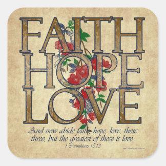 Faith Hope Love Christian Bible Verse Square Sticker