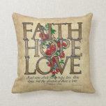 Faith Hope Love Christian Bible Verse Throw Pillow