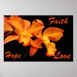 Faith Hope Love Christian Poster Orange Orchids