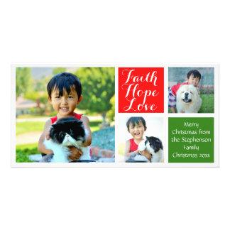 Faith Hope Love Color Blocks Christmas 3-Pic Photo Card