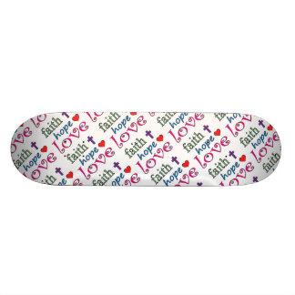 Faith Hope Love Cross Heart Skateboard
