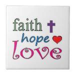 Faith Hope Love Cross Heart Tiles