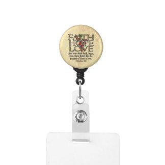 Faith Hope Love Elegant Bible Scripture Christian Badge Holder