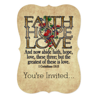 Faith Hope Love Elegant Bible Scripture Christian Card