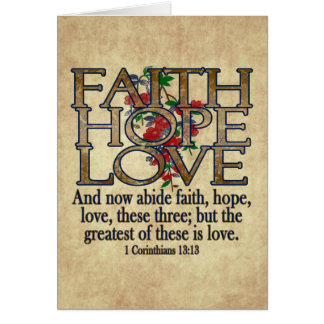 Faith Hope Love Elegant Bible Scripture Christian Greeting Card
