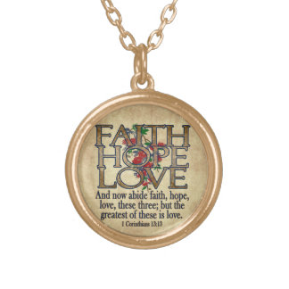 Faith Hope Love Elegant Bible Scripture Christian Gold Plated Necklace