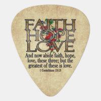 Faith Hope Love Elegant Bible Scripture Christian Guitar Pick