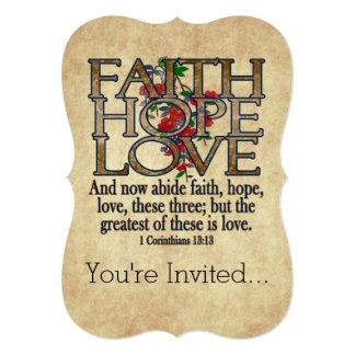 Faith Hope Love Elegant Bible Scripture Christian Personalized Invitations