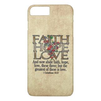 Faith Hope Love Elegant Bible Scripture Christian iPhone 8 Plus/7 Plus Case