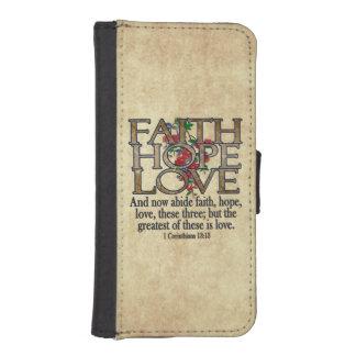 Faith Hope Love Elegant Bible Scripture Christian iPhone SE/5/5s Wallet Case