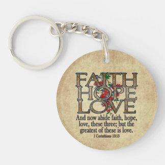 Faith Hope Love Elegant Bible Scripture Christian Keychain