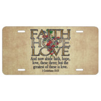 Faith Hope Love Elegant Bible Scripture Christian License Plate