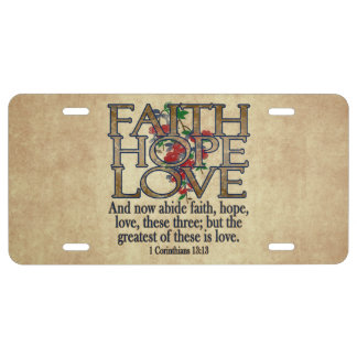 Faith Hope Love Elegant Bible Scripture Christian License Plate