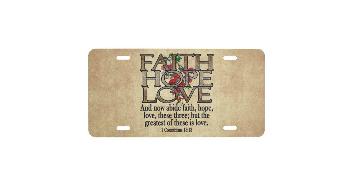 Faith Hope Love Elegant Bible Scripture Christian License Plate Zazzle Com