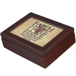 Faith Hope Love Elegant Bible Scripture Christian Memory Box