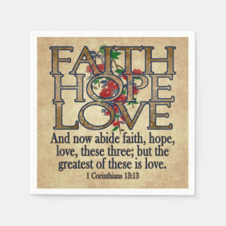 Faith Hope Love Elegant Bible Scripture Christian Napkin