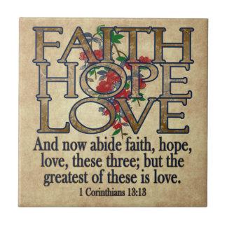 Faith Hope Love Elegant Bible Scripture Christian Tile