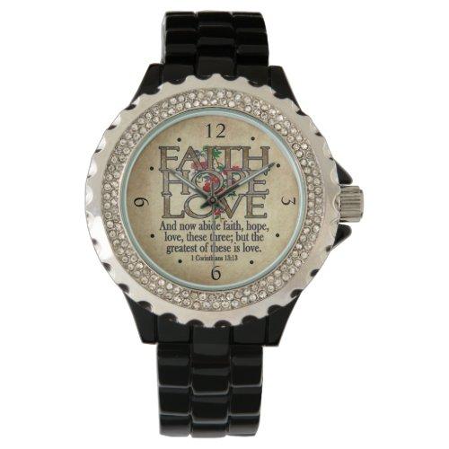 Faith Hope Love Elegant Bible Scripture Christian Wristwatch
