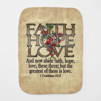 Faith Hope Love Elegant Bible Scripture Christian Burp Cloths
