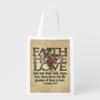 Faith Hope Love Elegant Bible Scripture Christian Market Tote