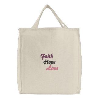 Faith Hope Love Embroidered Tote Bag