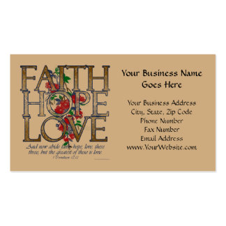 Faith Hope Love, Floral Design With Bible Verse Double-Sided Standard Business Cards (Pack Of 100)