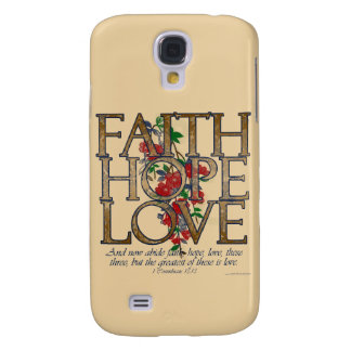 Faith Hope Love, Floral Design With Bible Verse Samsung Galaxy S4 Case