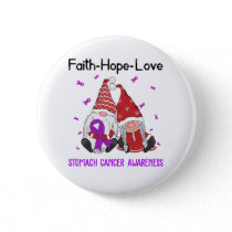 Faith Hope Love Gnome Ribbon Stomach Cancer Button