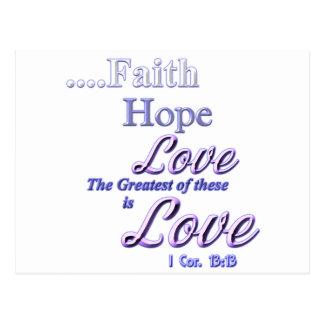 Faith, hope love Greatest Bible scripture Postcard