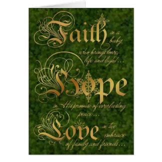 Faith, Hope, Love Green and Gold Christmas Card