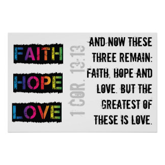 Faith, Hope & Love (grunge) Poster