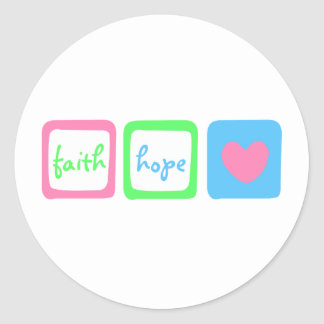 Faith Hope Love Heart 1 Corinthians 13:13 Classic Round Sticker