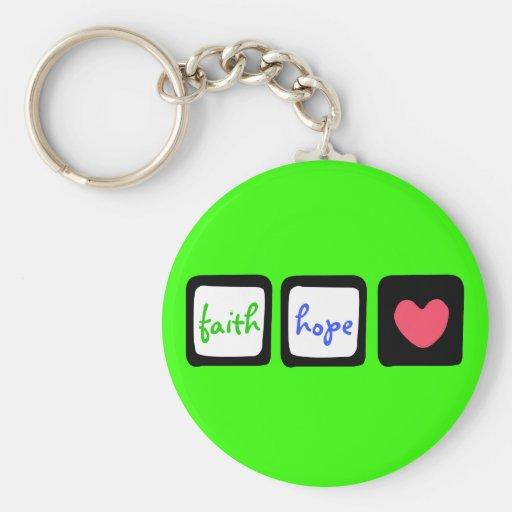 Faith Hope Love Heart 1 Corinthians 13:13 Keychain