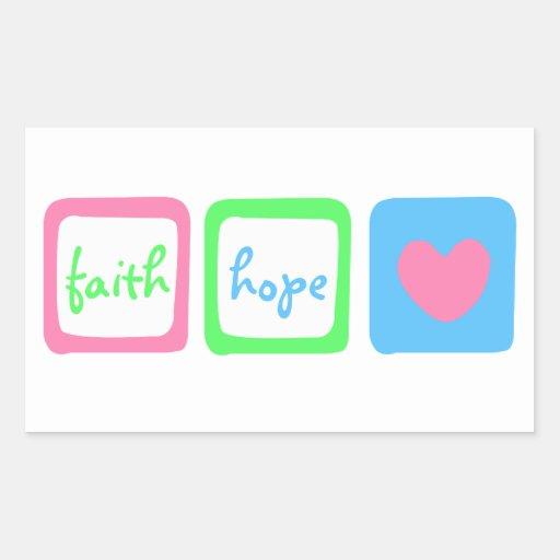 Faith Hope Love Heart 1 Corinthians 13:13 Rectangular Sticker