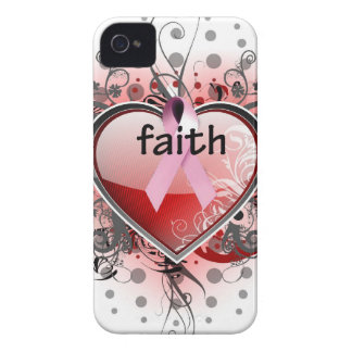 Faith Hope Love Heart Cancer Awareness Pink Ribbon iPhone 4 Covers