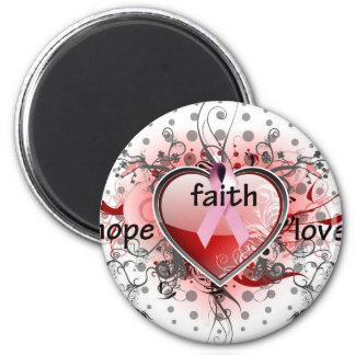 Faith Hope Love Heart Cancer Awareness Pink Ribbon Refrigerator Magnet