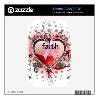 Faith Hope Love Heart Cancer Awareness Pink Ribbon Decal For The iPhone 2G