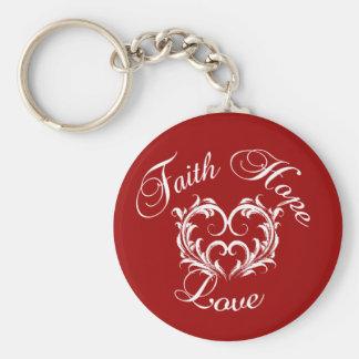 Faith Hope Love Heart Keychain