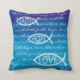 Faith Hope Love Ichthus - Christian Fish Pillow