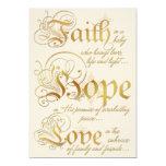 Faith, Hope, Love Ivory, Gold Photo Christmas Card