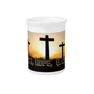 Faith, Hope,  & Love Jesus Christ Cross Beverage Pitcher