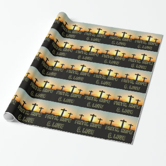 Faith, Hope,  & Love Jesus Christ Cross Wrapping Paper
