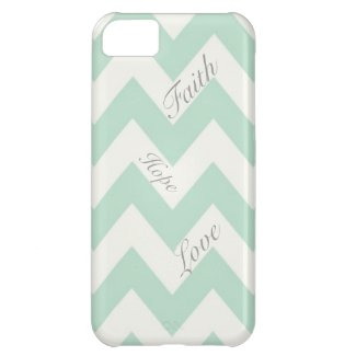 Faith Hope Love Light Green Chevron Case For iPhone 5C