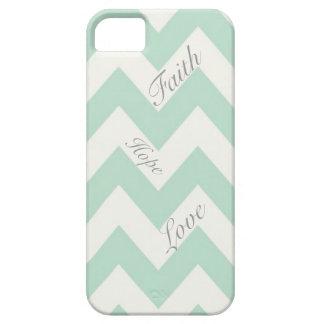 Faith Hope Love Light Green Chevron iPhone SE/5/5s Case