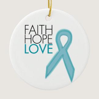 Faith, Hope, Love - Ovarian Cancer Ceramic Ornament