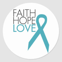 Faith, Hope, Love - Ovarian Cancer Classic Round Sticker