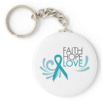 Faith, Hope, Love - Ovarian Cancer Keychain