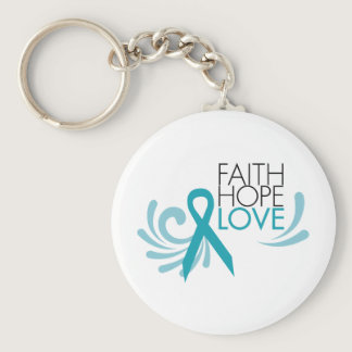 Faith, Hope, Love - Ovarian Cancer Keychain