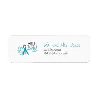Faith, Hope, Love - Ovarian Cancer Label
