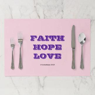 FAITH HOPE LOVE PAPER PLACEMAT